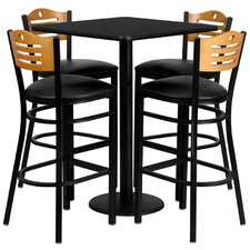 5 Piece Pub Table Set in Black