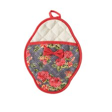 Quilted Floral Bow Scalloped Pot Mitt