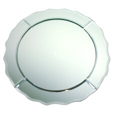 "13"" Scalloped Edge Round Mirror Glass Charger"