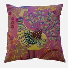 Boho Peacock Embroidered Cotton Throw Pillow