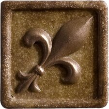 """Romancing the Stone 2"""" x 2"""" Compressed Stone Fleur de Lis Insert with Bronze Inlay in Noce (Set of 2)"""