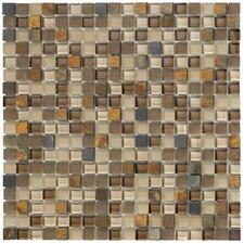 Crystal Stone II Glass Mosaic Tile in Terracotta