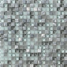 """Crystal Glass and Stone 12"""" x 12"""" Mosaic Tile in Breeze"""
