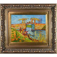 Langlois Bridge at Arles with Women Washing by Van Gogh Framed Hand Painted Oil on Canvas
