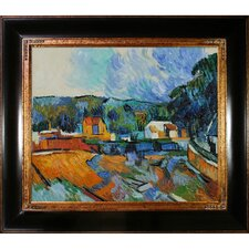 Uferlandschaft by Cezanne Framed Hand Painted Oil on Canvas