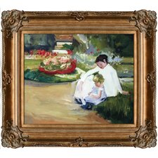 Woman and Child Seated in a Garden by Mary Cassatt Framed Hand Painted Oil on Canvas