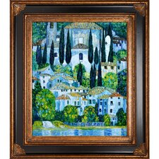 Church in Cassone (Landscape with Cypress) by Klimt Framed Oil Painting on Canvas