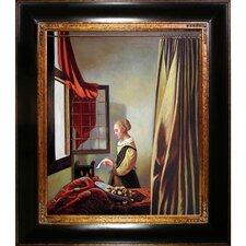 Reading a Letter at an Open Window by Vermeer Framed Hand Painted Oil on Canvas
