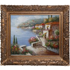 'Vacation Harbor' Framed Painted Oil on Canvas