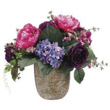 Peony/Rose/Hydrangea in Terra Cotta Pot