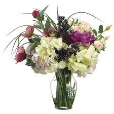 Helleborus/Anemone/Rose/Hydrangea in Glass Vase