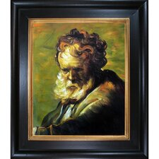 A Bust of an Old Man by Rembrandt Harmenszoon Van Rijn Framed Painting