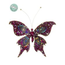Glittered and Jeweled Sequin Butterfly Clip On Christmas Ornament