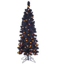 4.5' Flocked Black Artificial Halloween Tree with LED Orange Light