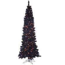 Pre-Lit Flocked LED Light Artificial Halloween Tree