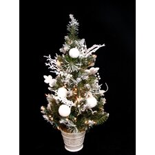 Pre-Lit Decorated Flocked Snow Pine Artificial Christmas Tree