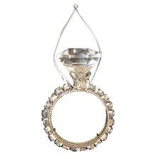 Diva Jewel Encrusted Single-Band Wedding Ring Christmas Ornament