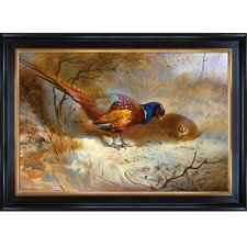 'Pheasants, 1918' by Thorburn Framed Painting Print on Canvas