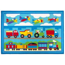 Olive Kids Trains, Planes, Trucks  Area Rug