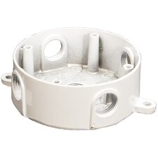 """4"""" Round Weatherproof Boxes in White with Five Holes"""
