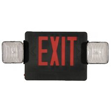 Combo LED and Exit / Emergency Light in Red LED and Black Housing