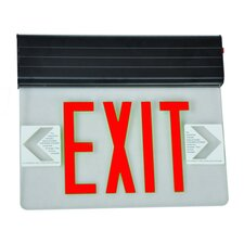 Surface Mount Edge Lit LED Exit Sign with Red on Clear Panel and Black Housing