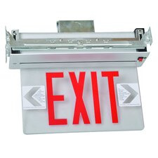 Recessed Mount Edge Lit LED Exit Sign with Red on Clear Panel and Aluminum Housing
