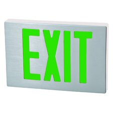 Cast Aluminum LED Exit Sign with Green Lettering, Aluminum Housing and White Face