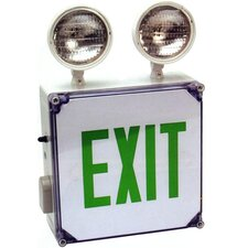 Wet Location LED Exit Combo Unit with Green Letter