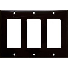 3 Gang Decorator / GFCI Lexan Wall Plates in Brown (Set of 5)