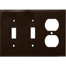 3 Gang 1 Duplex 2 Toggle Lexan Wall Plates in Brown (Set of 4)
