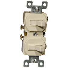 15A-120/277V Single Pole Double Switch in Ivory (Set of 3)