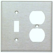 Stainless Steel Metal Wall Plates with 1 Toggle 1 Duplex (Set of 3)