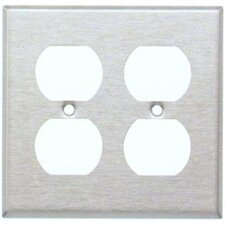 Two Gang and Duplex Receptacle Metal Wall Plates in White (Set of 4)