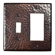 Hammered Copper Single Switch and GFCI Combination Plate