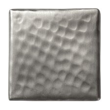 """Solid Hammered Copper 2"""" x 2"""" Decorative Accent Tile in Satin Nickel"""