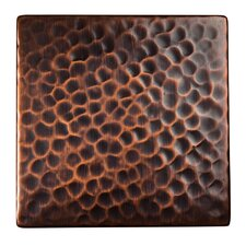 """Solid Hammered Copper 4"""" x 4"""" Decorative Accent Tile in Antique Copper"""