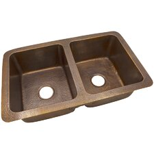 """34"""" x 21"""" Solid Hand Hammered Large Double Bowl Drop-In /Undermount Kitchen Sink"""