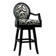 "Zebra 30"" Swivel Bar Stool with Cushion"