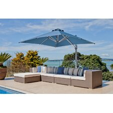10 ft. Square Commercial Grade Eclipse Cantilever UmbrellaPatio Umbrella Set with In-Ground Mount