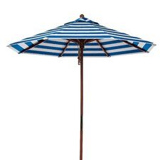 9 ft. Octagonal Commercial Grade Striped Wooden Market Umbrella
