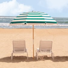 7.5 ft. Diameter Steel Commercial Grade Striped Acrylic Beach Umbrella