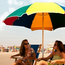 7.5 ft. Diameter Steel Commercial Grade Acrylic Beach Umbrella, Alternating Panels with Ashwood Center Pole