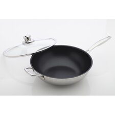 "Prestige 12.5"" Non-Stick Stainless Steel Wok with Lid"
