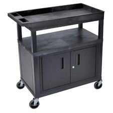 E Series Utility Cart with 2 Tub/1 Flat Shelves and Cabinet