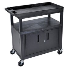 E Series Utility Cart with 2 Tub/1 Flat Shelves, Cabinet and Electric