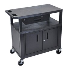 Utility Cart with 3 Shelves Cabinet and Drawer