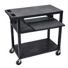 Presentation Cart with 4 Shelves and Pullout Shelf