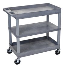 E Series Utility Cart with 2 Tub/1 Flat Shelves
