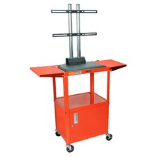 Adjustable Height Flat Panel Cart with Cabinet and Drop Leaf Shelves